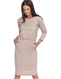 2ea3067edae6 Makadamia Women s Round Neck Long Sleeve Ladies Dress With Elastic Waist  and Pockets FM157