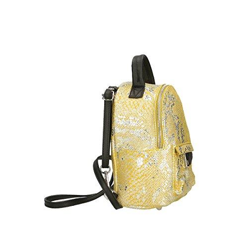 Chicca Borse Tasche Rucksack aus echtem italienischem Leder 16X20X10 Cm Gelb