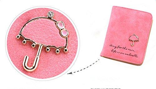 Qingsun Femme Porte-monnaie courte Portefeuille étui en Nubuck PU Cuir Zip Bouton Carte Sac à Main avec motif Parapluie, bleu ciel rose