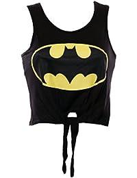 Mymixtrendz T-shirt pour femme à nouer Motif logo super héros