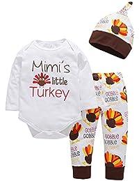 CHshe Pyjama Enfant Fille Garçon Manches Longues Mimis Little Turkey Letter  Tops+ Pantalon Casual Impression Mignon+Chapeau pour… 4a1bd1215a7