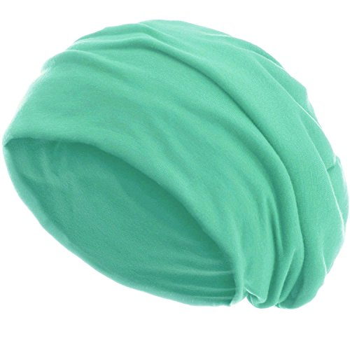 style3 Slouch Beanie aus atmungsaktivem, feinem und leichten Jersey Unisex Mütze Haube Bini Einheitsgröße, Farbe:Mint (Mint Grün Beanie)