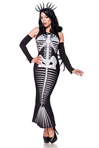 Mask Paradise Skelett Meerjungfrau Kostüm Set mit Haarreif und Armstulpen - Gr. M