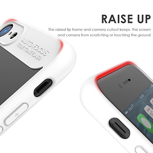 iPhone 7 Housse Coque, Moonmini Ultra-mince Eagle-eye Anti-rayures Antidérapante TPU Pare-chocs Transparent Panneau arrière rigide Case Cellphone Shell pour iPhone 7 (Bleu) Blanc