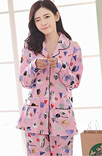 Lace-seide-cardigan (Marcus R Caveggf Damen Lange Ärmel Hose Pyjama Set Womens große Größe Baumwolle Lace Cardigan Button Herbst Winter Nachtwäsche als Geschenk, l /100-115 kg /)