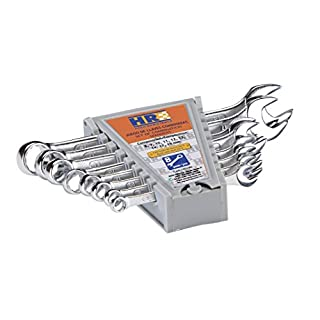 alyco 170180 Combination Spanner Set 8 HR High Resistance DIN 3113 CR-V Glossy Chrome in Carton Box