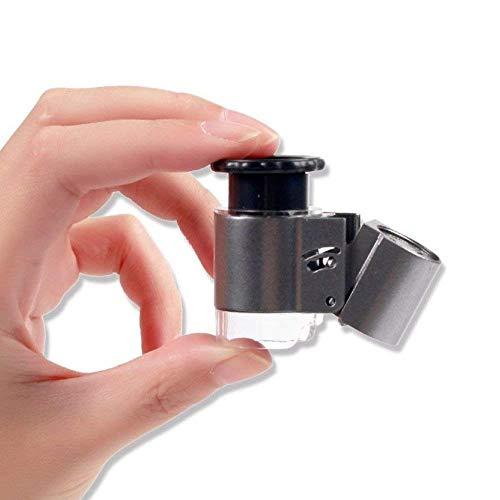 Lupe HJCA Mini Lupe - 10 mal mit LED HD Objektiv Mikroskop Foto Schmuck Review Watch DIY Handwerk Gravur und Reparatur - Silber 48 * 36 * 26 mm UV vergrößerten Spiegel Persönliche Mehrzwecklupe
