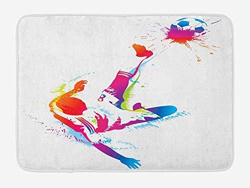 tgyew Soccer Bath Mat, Soccer Man Kicks The Ball in The Air Watercolors Success Energy Feet Illustration, Plush Bathroom Decor Mat with Non Slip Backing, 23.6 W X 15.7 W Inches, Multicolor