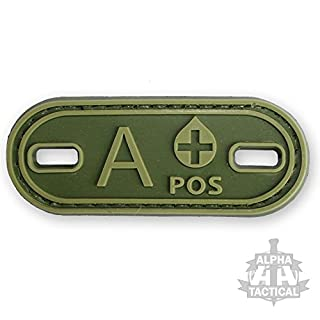 Alpha Tactical VELCRO PANEL RUBBER BLOOD GROUP GREEN PATCH (A POS)