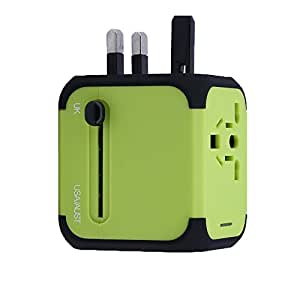 Cube plug,Universal Power Adapters AC International Armour Travel Power Car Charger Wall Adaptor with 2.5A Dual USB Ports for Phone/Camera/Laptop/Best All in One International Travel Cube Plug (US/EU/UK/AU) (Green)