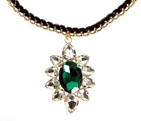 Calonice Amorino Femme Titanic Le Coeur de l'Océan Collier vert et blanc verre diaments et chaîne dorée avec dentelle 4x7 cm (LxH) 40000 (Green)