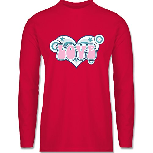 Shirtracer Romantisch - Love - Herren Langarmshirt Rot