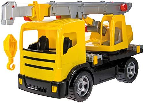 Lena 02176 - Starke Riesen Kranwagen, gelb, ca. 70 cm, großes Kranauto mit 2 Achsen, robustes Spielfahrzeug für Kinder ab 3 Jahre, Kranfahrzeug mit Seilwinde bis 1,05 m und drehbaren Kranaufbau (Lkw-kran)