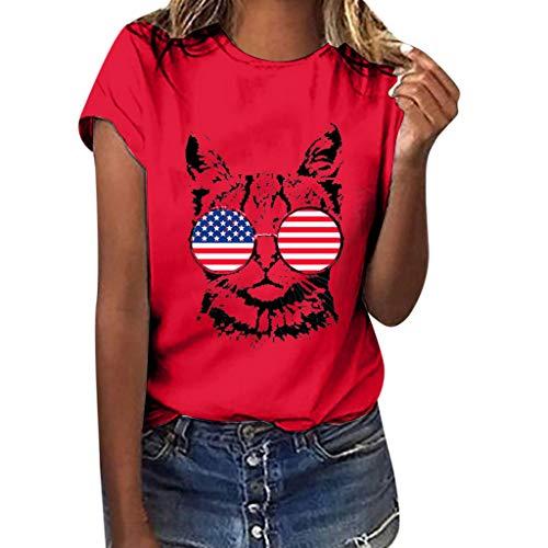 Frashing Damen Sommer Kurzarm Bluse Frauen Mädchen Große Größen American Flag Top Katzen Druck T-Shirt Kurzarm Blusentop Sports Shirts Oberteile Loose Fit Tops Rundhals T Shirts