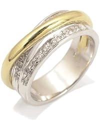 Gioie Bague Femme en Or 14 carats Blanc/Jaune avec Zircon Blanc