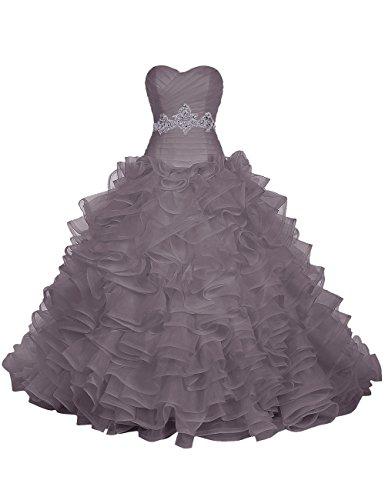 Find Dress Paillette Robe de Mariée Princesse Femme Plissé Multicouche Floral Cocktail Longue Party Anniversaire Col en Coeur Robe de Soirée Grande Taille Formelle en Tulle Gris
