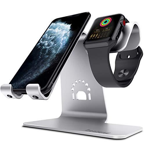 Bestand Aluminium Kombi-Dockingstation zum Aufladen, geeignet für Smartphone, Tablet & Apple Watch (kein Ladekabel enthalten) (Silber)