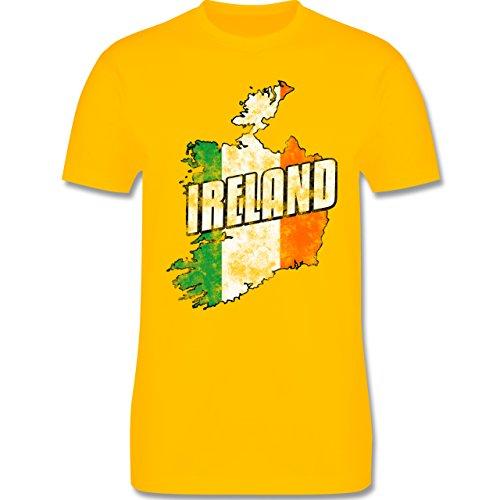 EM 2016 - Frankreich - Ireland Umriss Vintage - Herren Premium T-Shirt Gelb