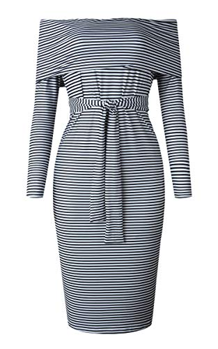 Angashion Women's Off Shoulder Long Sleeve Mini Dress Bodycon Pencil Dress Schwarz-Weiß XL
