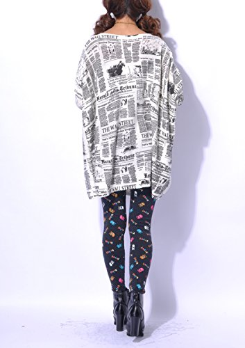 ELLAZHU Femme Pull Robe Tricot Lâche Journal Taille Unique SZ44 Blanc