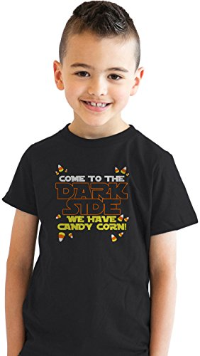 Crazy Dog Tshirts - Youth Come to Dark Side T Shirt We Have Candy Corn Halloween Trick Or Treat Tee (Black) - M - Jungen - M