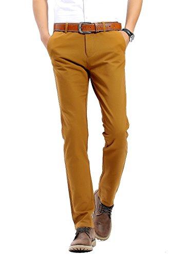 Gelbe Hosen Für Männer (INFLATION Herren Casual Hose Chino Stretch Stoffhose Chinohose Regular Fit HM101 20 Farben verfügbar, Boden Gelb, DE 33 (Etikette 34))