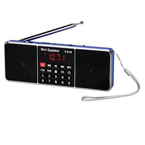 Amlaiworld groß LCD Bildschirm Tragbare FM-Radio-Lautsprecher Glänzende Digital Sport Musik player lässig Casual MP3-Player Stilvoll USB Coole Audio Lautsprecher Urlaub Elektronisch geräte für TF Kartenslot Unterstützung FM radio funktion (Blau)