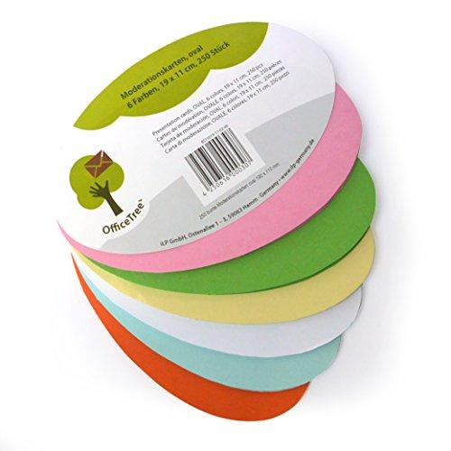 OfficeTree ® Moderationskarten oval 19x11 cm - 130g/qm stark 250 St. 6 Farben - unverzichtbar für professionelle Präsentation Gesprächsleitung Moderation - Zur Unterstützung im Unterricht Meeting Büro