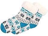 Alsino Calze Invernali per Casa Taglia Unica per Bambini 25-30 Antiscivolo Fodera Calda Termica Morbidissimi Stile Norvegese Bimbi Bianco Blu Rosa