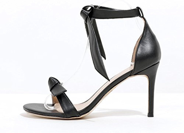 VIVIOO High Heels High Heel Sandals Summer Summer Summer Wild Open Toe Word Buckle Stiletto High Heels Sandalsnero 8Cm,38   Prezzo ottimale    Gentiluomo/Signora Scarpa  87c337