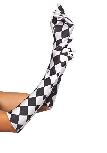 Leg Avenue 3748 - Satin Harlekin Ellbogenlangen Handschuhen - Einheitsgröße, schwarz/weiß (Coole Schwarze Und Weiße Kostüm)