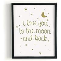 Kenay Home Lámina Moon A4, Papel, Blanco y Dorado