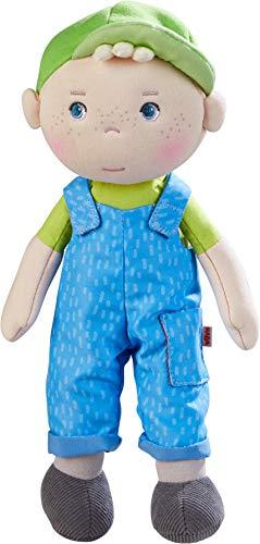HABA 305042 - Kuschelpuppe Till, weiche Stoffpuppe zum Spielen und Kuscheln, erste Puppe aus weichen, waschbaren Materialien, Geschenk zur Geburt oder Taufe, Größe: 25 cm