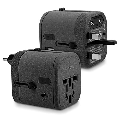 kwmobile Adaptador de Viaje para 150 países - Adaptador de Corriente Universal con 4 Puertos USB - Adaptador para Viajes 3.0A Tipo C en Negro