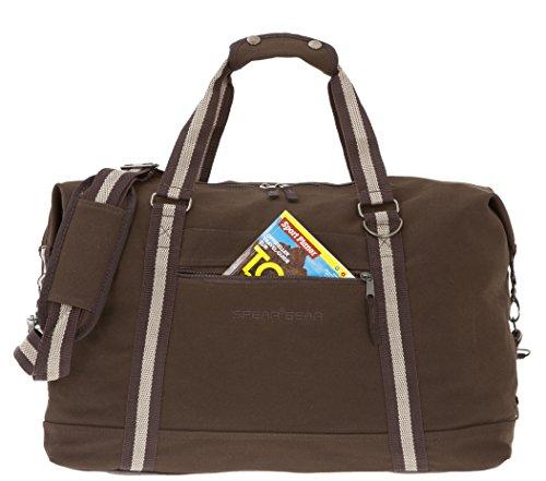 SPEAR GEAR Reisetasche Canvas TRAVELLER XL 45 Liter Sporttasche Weekender mit Schultergurt (Schwarz) Brown