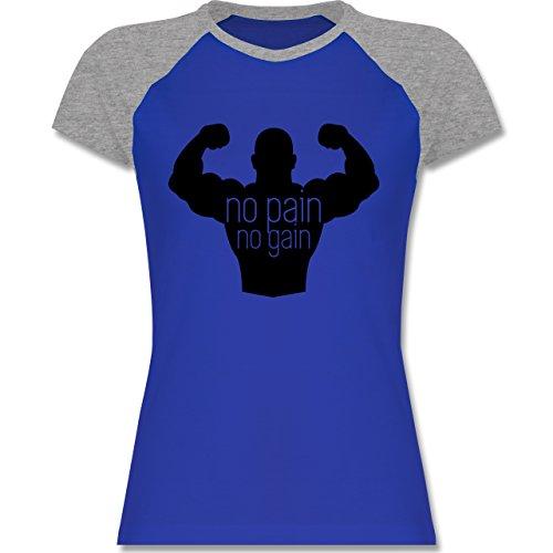Shirtracer CrossFit & Workout - No Pain No Gain - Zweifarbiges Baseballshirt/Raglan T-Shirt für Damen Royalblau/Grau meliert
