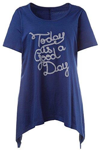 GINA LAURA Damen | Schlafanzug-Shirt aus 100 % Baumwolle | Pyjama Oberteil |Blau, Kurzarm & Rundhalsausschnitt | Asymmetrischer Schnitt | Bis Größe XXL | 709892 Marine