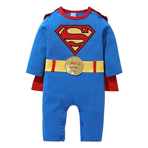 Neugeborenen kriechen Anzug Junge Superman Onesies mit Mantel (3-6 Monate, CRLT01L)