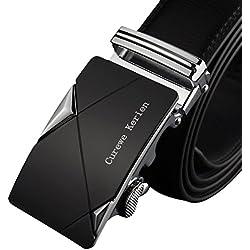 Malloom Los hombres de cuero hebilla automática Cinturones de lujo correa de la cintura de la pretina de la correa (B)