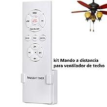 Kit di Controllo remoto Wireless Universale per ventilatori a soffitto con 3 velocità, 4 Tempi con funzioni di accensione/spegnimento Luce per Uso casa/Ufficio/Hotel/Club/Fabbrica/Ristorante