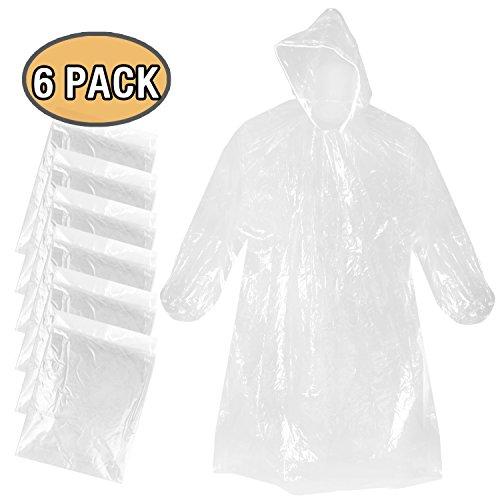 Regenponcho mit Kaputze, poncho einweg PE Regenmäntel wasserdicht regenjacken für Outdoor camping - transparent 6 pcs