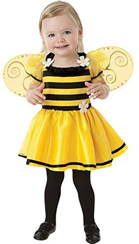 erdbeerloft - Mädchen Bienchen Kleid mit Flügeln Kostüm Karneval , Gelb, 80-92, 1-2 (Katze Flügel Kostüm Mit)
