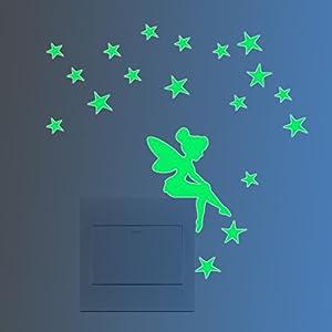 Feskin 3 Stück Leuchtaufkleber Kleine Elfe mit Sternen für Lichtschalter oder Steckdose, Wandaufkleber Fluoreszierend…