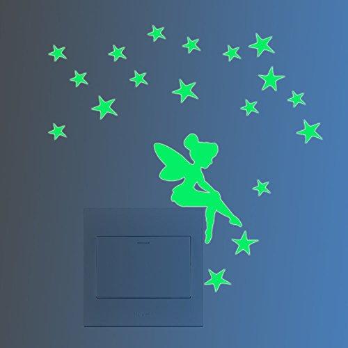 """FESKIN 3 Stück Leuchtaufkleber \""""Kleine Elfe mit Sternen\"""" für Lichtschalter oder Steckdose, Wandaufkleber Fluoreszierend und im Dunkeln leuchtend für Kinderzimmer und Babyzimmer"""