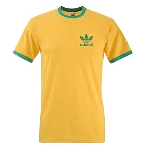 stone-roses-ian-brown-wanna-be-adored-tribute-t-shirt-spike-island-ringer-l-yellow-tshirt-green-logo