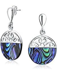 Abalone Shell Filigree Circle Swirl Drop Earrings 925 Silver
