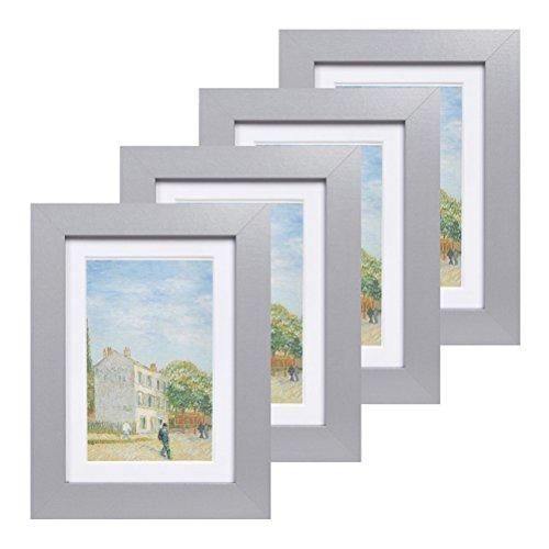 Muzilife Bilderrahmen 4er Set mit Glasscheibe Fotorahmen für Portrait/Galerie mit Passepartout 8x13cm ohne Passepartout 10x15cm (Grau) (Grau 8x10 Bilderrahmen)
