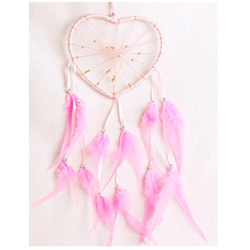 Ouneed® Plume Cercle de Attrape-Rêves Ruban Forme Coeur (Rose)