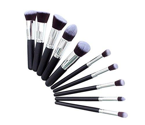 GZpart 10PCS Kit De Pinceau Maquillage Professionnel Noir Eyebrow Shadow Blush Fond De Teint Anti-Cerne
