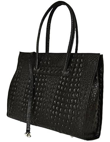 Cuir ladies business / Porte-documents / portable sac avec bandoulière Italie mod. p 2026-12 Noir Croco